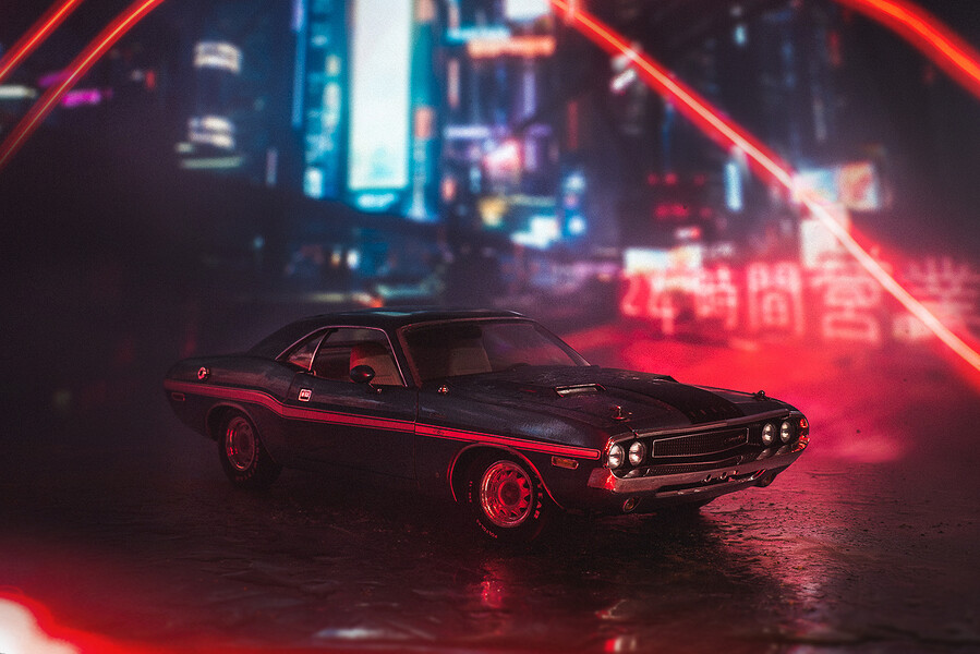 Dodge Challenger 1970 Cyberpunk city 1:18